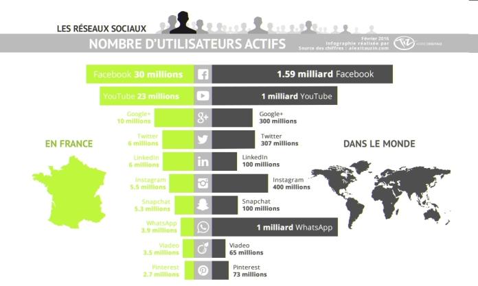 les réseaux sociaux en France et dans le monde